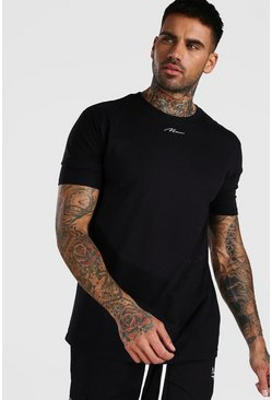 Black MAN Signature Neck Print T-Shirt