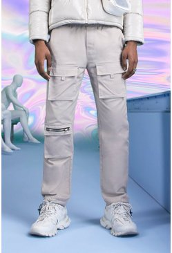Stone Slim Fit Cargo Pants With Drawcord Cuff