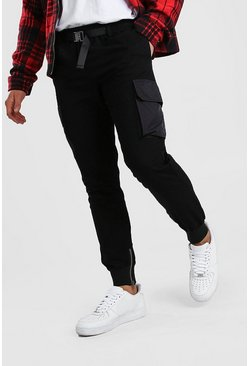 Black Skinny Cargo Trousers With Buckle Waist