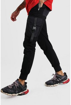 Black Cargo Trousers With Buckle