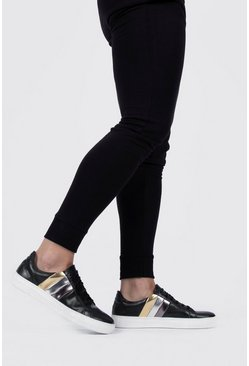 Black Metallic Stripe Side Sneaker