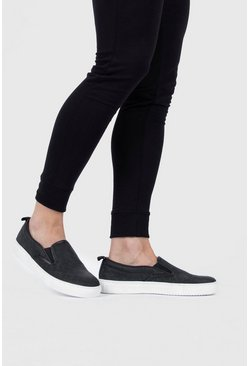 Black Emboss Slip On Trainer