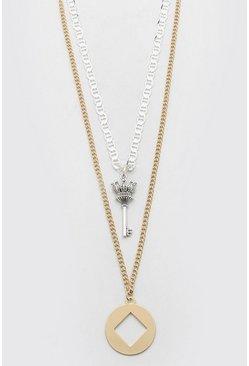 Multi Double Layer Pendant Necklace
