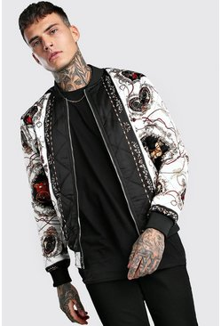 Black Baroque Printed Quilted Bomber Jacket