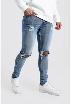 Blue Super Skinny Bleached Jeans With Busted Knees