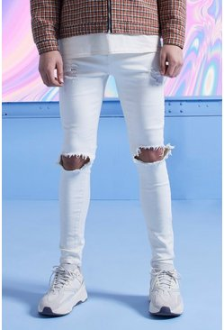 White Super Skinny Jeans With Busted Knees