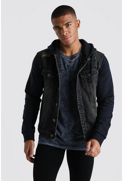 Washed black Distressed Denim Jacket With Jersey Hood