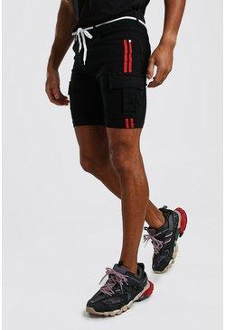 Black Super Skinny Cargo Jean Shorts