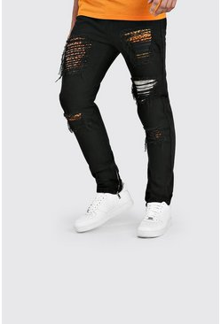 Black Skinny Rigid Jeans With Leopard Rip & Repair
