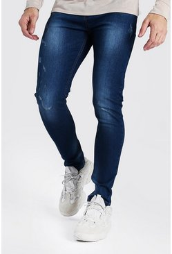 Washed indigo Skinny Jeans With Abrasions