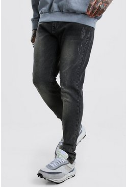 Charcoal Skinny Jeans With Abrasions