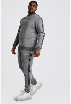Charcoal Big And Tall Official MAN Tape Tracksuit