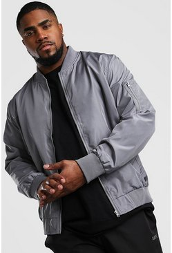 Charcoal Big And Tall MA1 Bomber Jacket