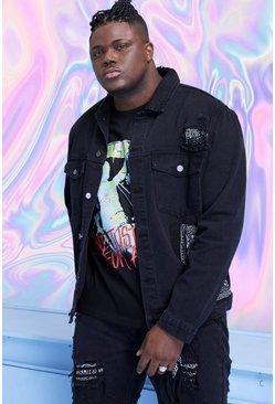 Washed black Big And Tall Denim Bandana Detail Jacket