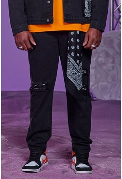 Washed black Big And Tall Skinny Fit Bandana Detail Jeans