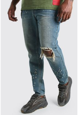Mid wash Big And Tall Skinny Fit Jean With Busted Knee