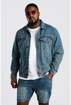 Mid wash Big And Tall Denim Paint Splatter Jacket