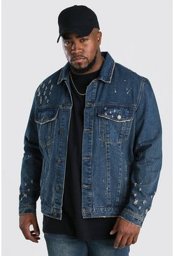 Dark wash Big And Tall Paint Splatter Denim Jacket