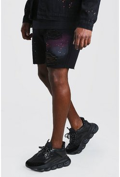 Black Big And Tall Slim Fit Denim Spray Paint Short