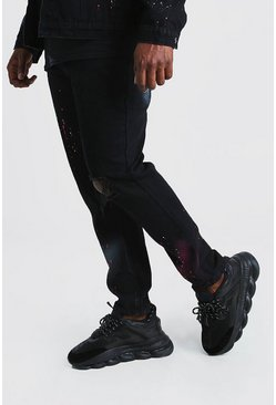 Black Big And Tall Skinny Spray Paint Jean