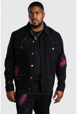 Black Big And Tall Spray Paint Denim Jacket