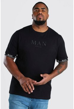 Black Big And Tall MAN Roman Tape Cuff T-Shirt