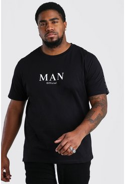Black Big And Tall MAN Roman Shoulder Tape T-Shirt
