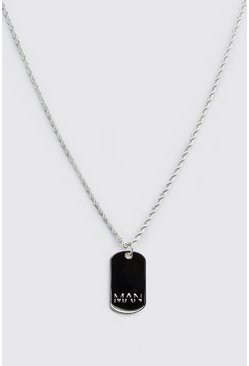 Silver MAN Dash Dog Tag Necklace