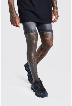 Charcoal Skinny Jean Shorts With Abrasions
