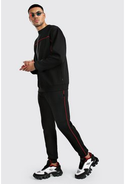 Black Sweater Tracksuit With Contrast Piping