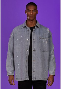 Ice Denim Longline Shirt Jacket With Paint Splatter