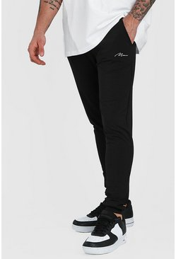 Black MAN Signature Poly Skinny Joggers With Cuff