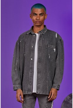 Mid grey Denim Longline Shirt Jacket With Paint Splatter