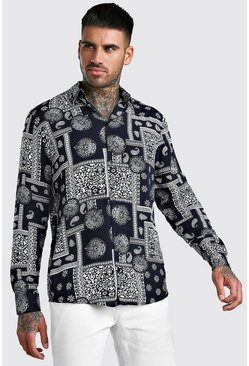 Navy Long Sleeve Bandana Print Viscose Shirt