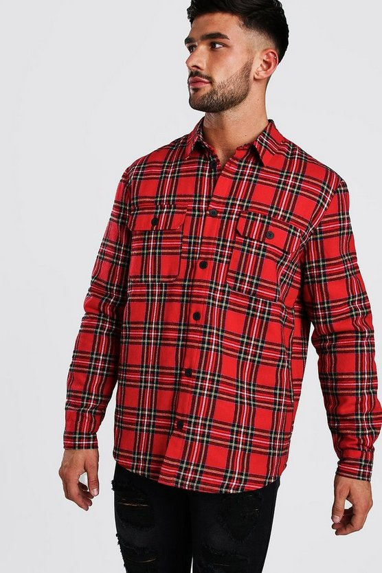 Red Long Sleeve Quilted Check Shirt