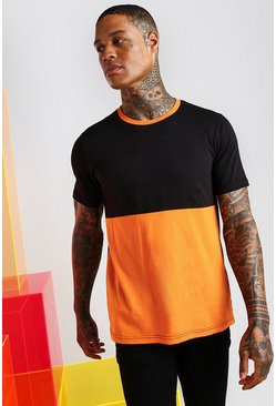 T-Shirt im Farbblock-Design, Orange