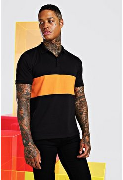 Poloshirt im Colorblock-Design, Orange