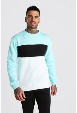 Mint Colour Block Sweatshirt