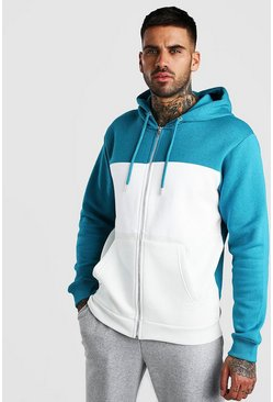 Blue Colour Block Zip Through Hoodie