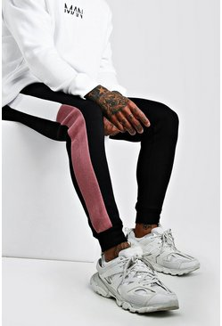 Mauve Skinny Fit Colour Block Jogger