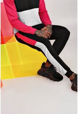 Skinny-Fit Jogginghose im Colorblock-Design, Rosa