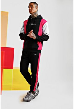 Pink Man Signature Colour Block Hooded Tracksuit