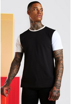 Black Multi Colour Block T-Shirt