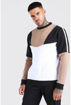 Taupe Multi Colour Block Sweat With Tape