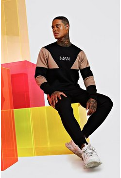 Black Original Man Multi Colour Block Tracksuit