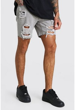 Light grey Slim Fit All Over Rip Denim Shorts