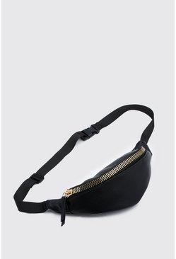 Black Chunky Zip Fanny Pack