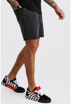 Charcoal Slim Fit Denim Shorts With Raw Hem