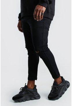 Black Plus Size Super Skinny Ripped Knee Jeans