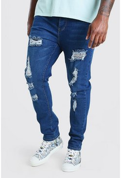 Mid blue Plus Size Skinny Fit Jeans All Over Rips